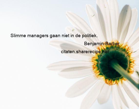 Citaten Voor Managers : Benjamin barber: slimme managers gaan niet in de politiek.