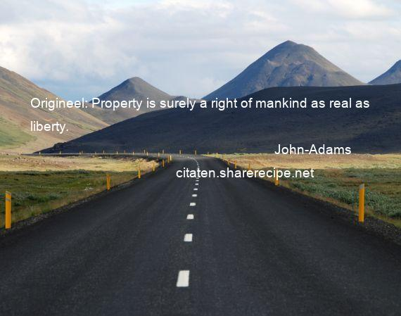 John-Adams - Origineel: Property is surely a right of mankind as real as liberty.